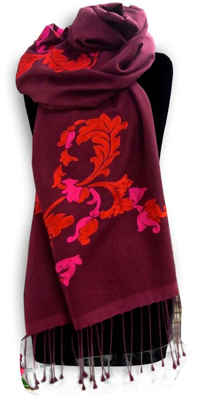 Pashmina Tulla Bordeaux mit extravaganten Farben bestickt.